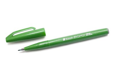Photo1: Pentel Fude Touch Brush Sign Pen -Green Ink