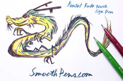 Photo4: Pentel Fude Touch Brush Sign Pen -Yellow Ochre Ink