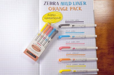 Photo3: Zebra Mildliner Highlighter -Orange Pack -WKT7-N-5C