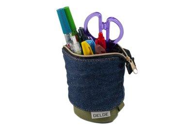 Photo2: Sun-Star Delde Slide Pen Case -Denim Slim Size -Khaki